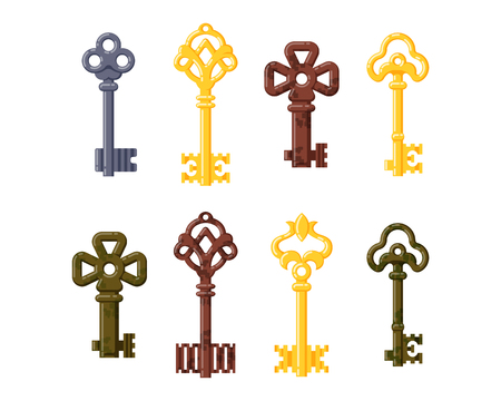 Vintage key vector isolated icon.