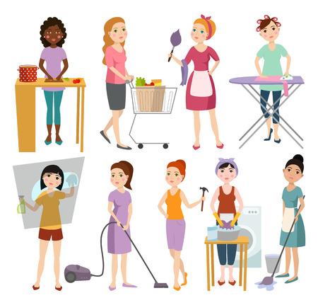 vacuuming: Set of housewifes homemaker woman vector illustration.