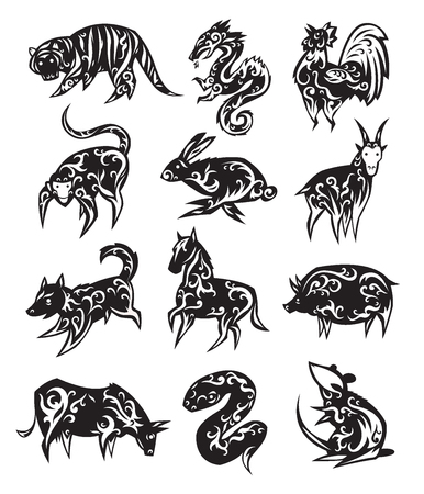 Chinese zodiac eastern calendar black symbols vector illustrations. Stock Vector - 70882825