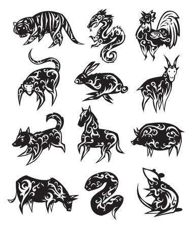 Chinese zodiac eastern calendar black symbols vector illustrations. Illustration
