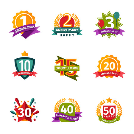 date stamp: Happy birthday badges vector icons