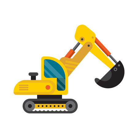 mine site: Yellow excavator special machinery vehicle loader bulldozer flat vector illustration. Stock Photo