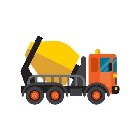 steel drum: Concrete mixer truck cement industry equipment machine vector.
