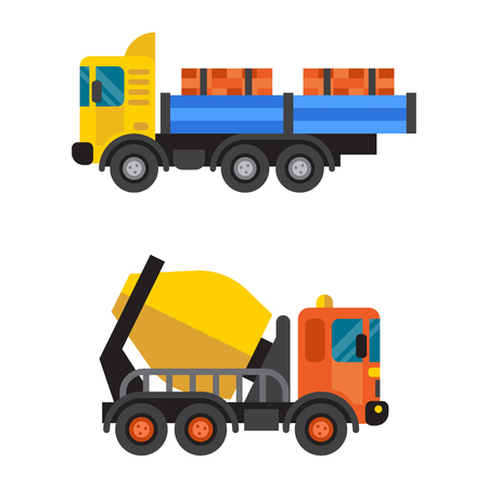 Concrete mixer and tipper truck cement industry equipment machine vector.