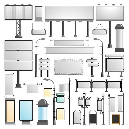 Advertisement billboards vector set. Vektoros illusztráció