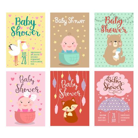 baby: Baby shower invitation vector card.