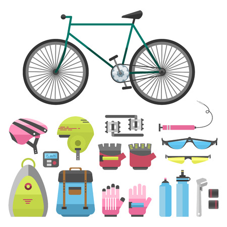 Flat bicycle equipment icon rider vector illustration.