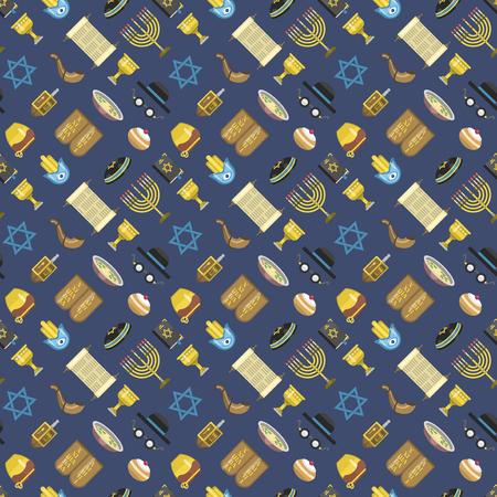 synagogue: Jewish icons israeli seamless pattern religious symbol jew icons synagogue culture. Traditional hanukkah symbol torah menorah prayer element. Illustration