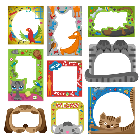 picture card: Cute happy birthday pets photo frame vector illustration. Illustration