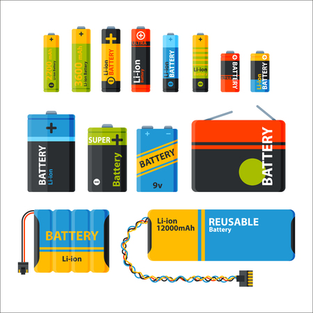 expressing negativity: Battery energy tool vector illustration. Electricity charge fuel positive supply. Disposable generation component alkaline technology double rendering alkaline objects.