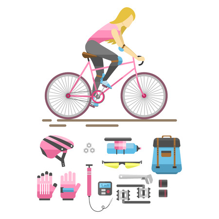 Active casual transportation fun accessories set. Urban biking sport and equipment lifestyle cycling flat vector. Cartoon bicycle equipment icon illustration.