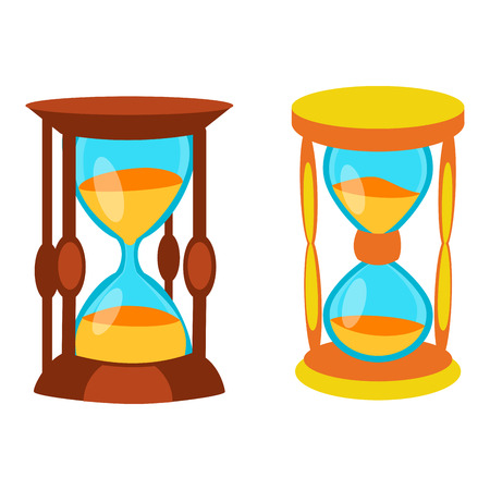 to trickle: Sandglass icon time flat design history second old object. Vector illustration sand clock hourglass timer hour minute watch countdown flow measure.