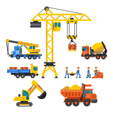 Building under construction, workers and technic vector illustration. Mixer truck crane machine isolated. Machinery material occupation heavy industry.