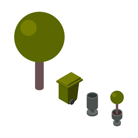 Trees and trashcan isometric vector illustration.