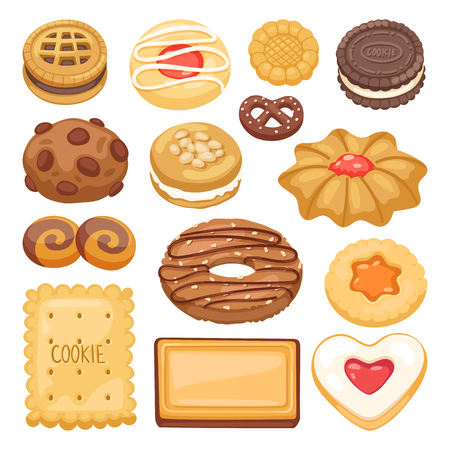 indulgence: Different cookie cake isolated vector illustration