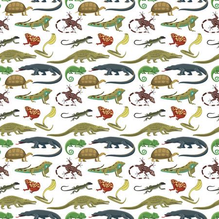 reptiles: Reptiles animals vector seamless pattern. Illustration
