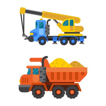 hydraulic platform: Tipper truck and construction crane industry vector illustration.