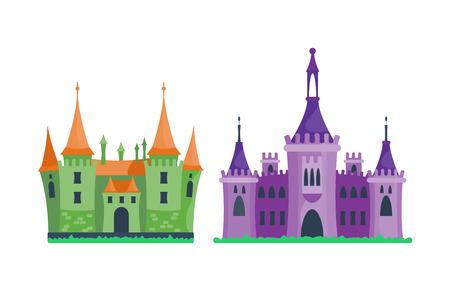 Cartoon castle architecture vector illustration