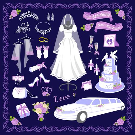 Wedding cartoon style icons vector illustration