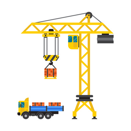 Construction crane house and tipper car industry vector.