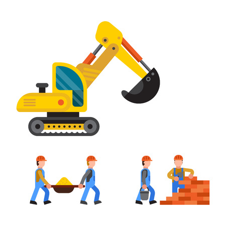 Under construction excavator technic vector illustration