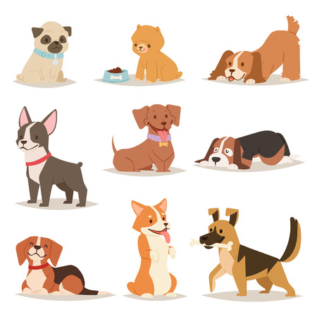 Funny cartoon dogs characters different breads illustration. Çizim