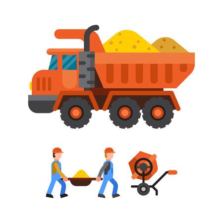 Under construction tipper technic vector illustration
