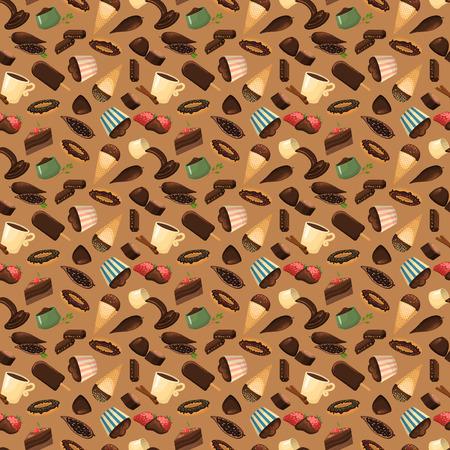 chocolate swirl: Chocolate sweets background vector illustration.