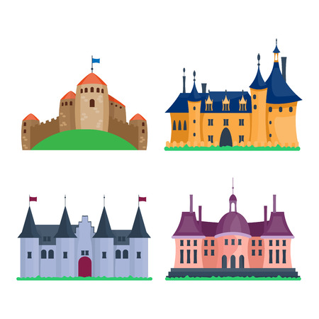 fable: Cartoon fairy tale castle tower icon. Cute architecture vector illustration fantasy house fairytale medieval. Princess stronghold design fable isolated.