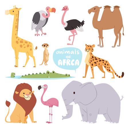 Van het de reiswoestijn van Afrika dieren het grote openlucht grafische wilde wild van het reiszoogdier en leuke van de het park nationale savanne van de beeldverhaalsafari olifants vlakke vectorillustratie.