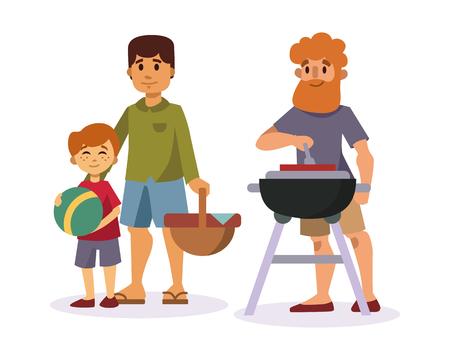 Picknick-Einstellung mit frischen Lebensmittel Hütte Korb Barbecue Ruhe Paar und Sommer Mahlzeit Party Familie Menschen Mittagessen Garten Zeichen Vektor-Illustration.
