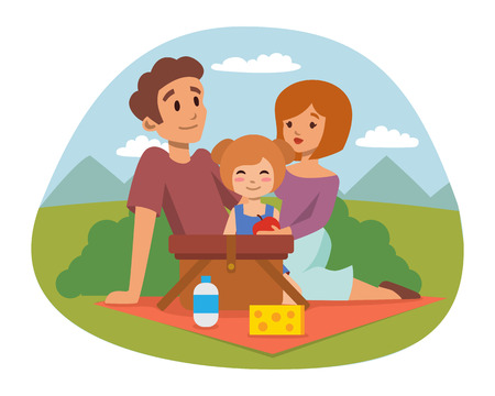 pareja comiendo: Picnic setting with fresh food hamper basket barbecue resting couple and summer meal party family people lunch garden character vector illustration.