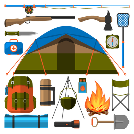 Summer outdoor travel camping icons tourism hiking recreation campfire and nature vacation forest adventure backpack equipment vector illustration.