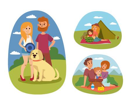 pareja comiendo: ajuste de picnic con la familia fiesta de la gente del almuerzo carácter ilustración vectorial jardín fresca cesta alimento cesta barbacoa reposo pareja y comida de verano. Vectores