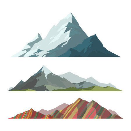 Mountain mature silhouette element outdoor icon snow ice tops and decorative isolated camping landscape travel climbing or hiking geology vector illustration. Vectores