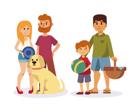 Picnic setting with fresh food hamper basket barbecue resting couple and summer meal party family people lunch garden character vector illustration.