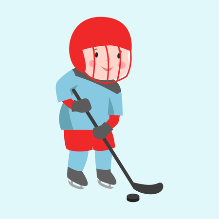 cute attitude: Hockey player boy with stick attitude bandage on face winter sport athlete uniform in helmet equipment and cute pretty tough confident smiling male vector.