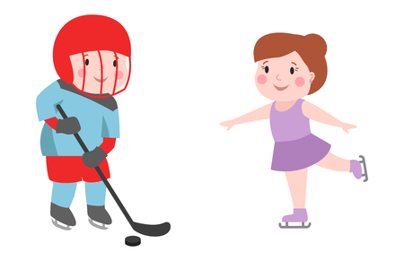 cute attitude: Hockey player boy with stick attitude bandage on face winter sport athlete uniform in helmet equipment and cute pretty girl skating tough confident smiling vector.