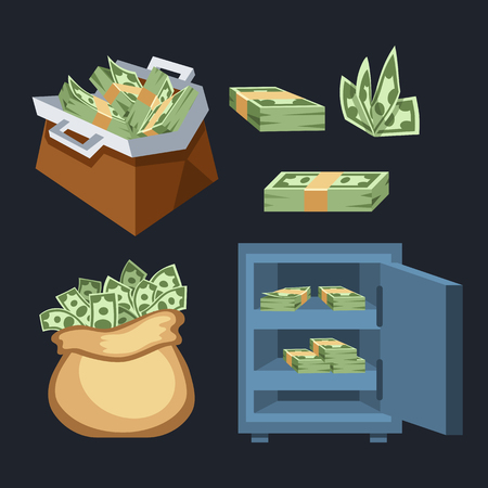 us paper currency: Dollar paper business finance money stack symbols of bundles us banking edition and banknotes bills isolated wealth sign investment currency vector illustration. Illustration