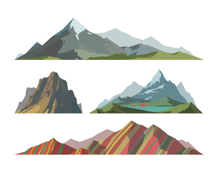 Mountain mature silhouette element outdoor icon snow ice tops and decorative isolated camping landscape travel climbing or hiking geology vector illustration. Çizim