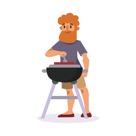 Picnic setting with fresh food hamper basket barbecue resting man and summer meal party character lunch garden character vector illustration. Illustration