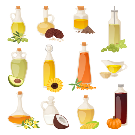 투명 한 액체와 자연, 야채, 처녀 유기 건강한 컨테이너 벡터 일러스트 요리와 화이트 절연 병에 다른 음식 오일. 가볍고 금빛 미식 건강 요리.