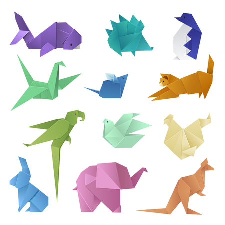 Origami style of different paper animals geometric game japanese toys design and asia traditional decoration hobby game vector illustration. Abstract creative wing craft asian shape handmade concept.