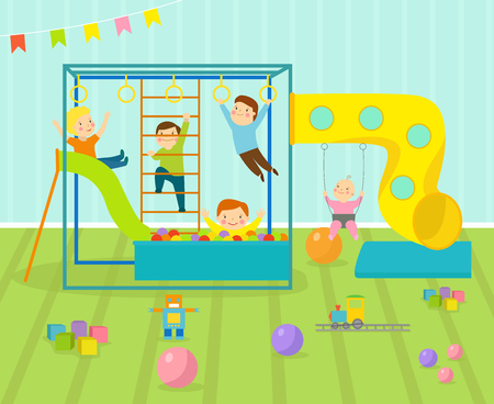 Kids playroom with light furniture decor playground and toys on the floor carpet decorating flat style cartoon comfortable interior vector illustration. Modern bedroom indoor childhood home. Illustration