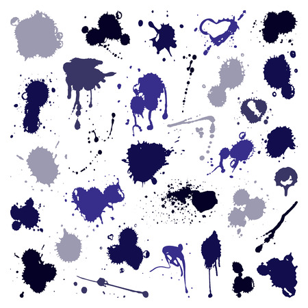 Vector set of ink splashes blots splatter collection grunge design element and art messy backdrop color dirty liquid shape spatter graphic silhouette illustration
