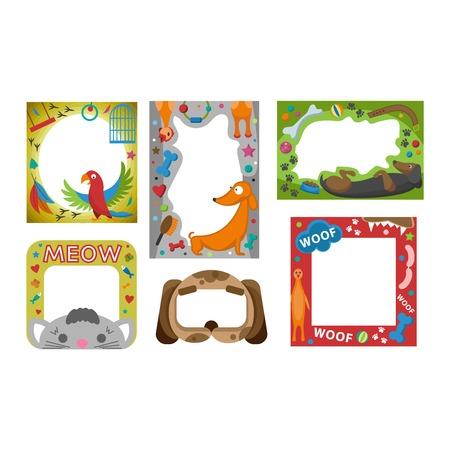 picture album: Cute happy birthday border photo frame vector illustration. Birthday design baby celebration. Cartoon child picture album card decoration. Illustration