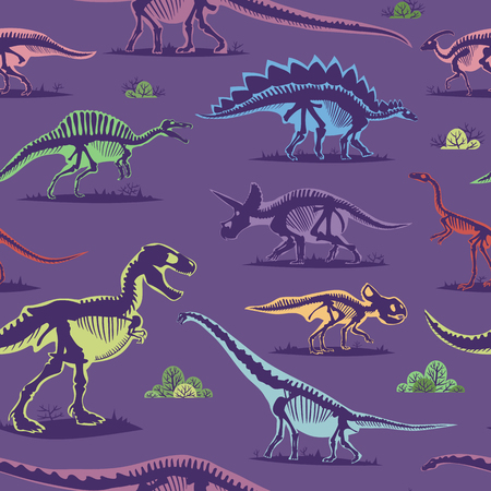 Dinosaur vintage color seamless pattern vector background