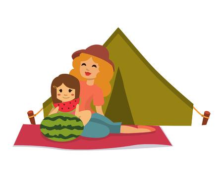 ajuste de picnic con la familia fiesta de la gente del almuerzo carácter ilustración vectorial jardín fresca cesta alimento cesta barbacoa reposo pareja y comida de verano. Vectores