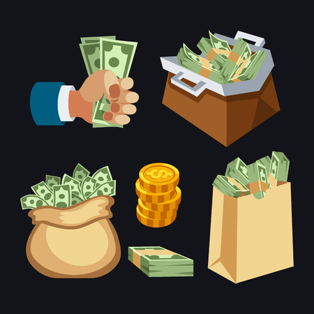 us paper currency: Dollar paper business finance money stack in bag of bundles us banking edition and banknotes bills isolated wealth sign investment currency vector illustration.