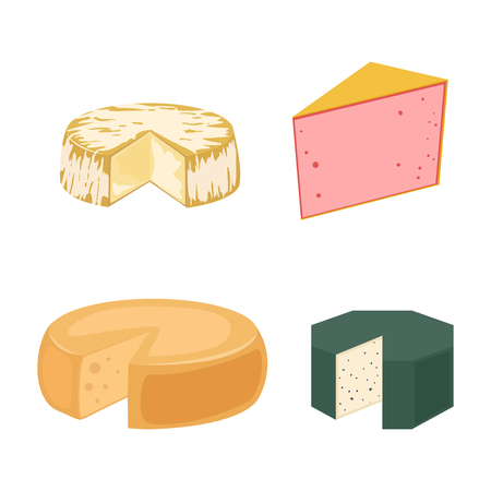 Delicious fresh cheese variety italian dinner icon flat dairy food and milk camembert piece different delicatessen gouda set isolated vector illustration. Stock Photo